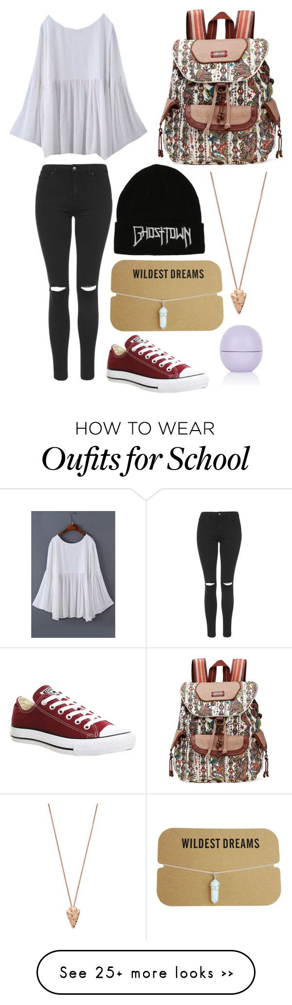 """Off to school!"" by just-a-hippie on Polyvore featuring Topshop, Sakroots, Pamela Love and Converse"