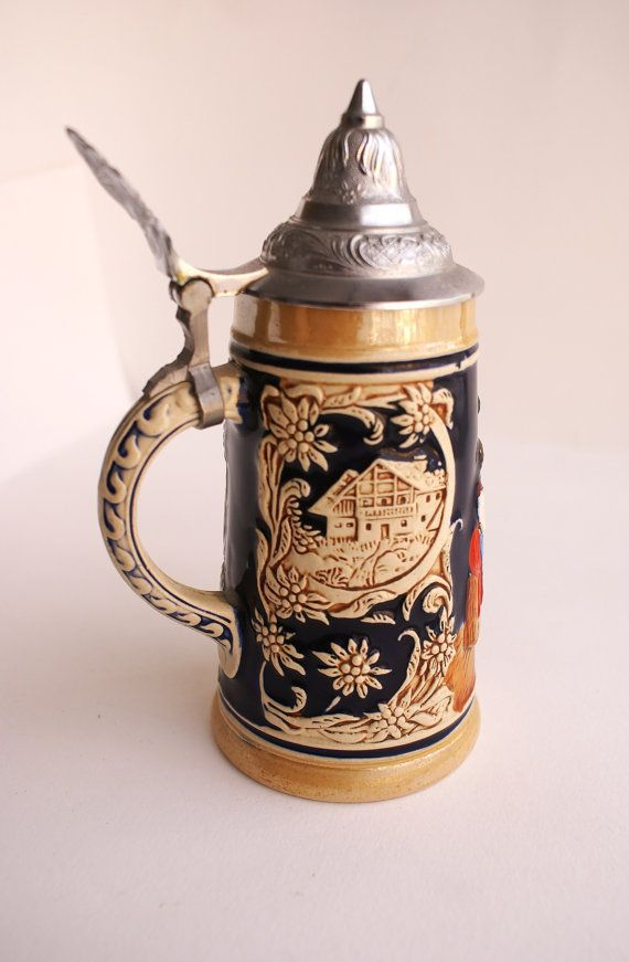 Collectable Ceramic German Beer Stein Mug with by JustReflection