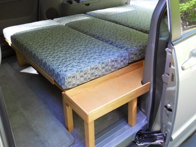The Grove Guy: MINIVAN CONVERSION use think bases instead of benches for the bedframe