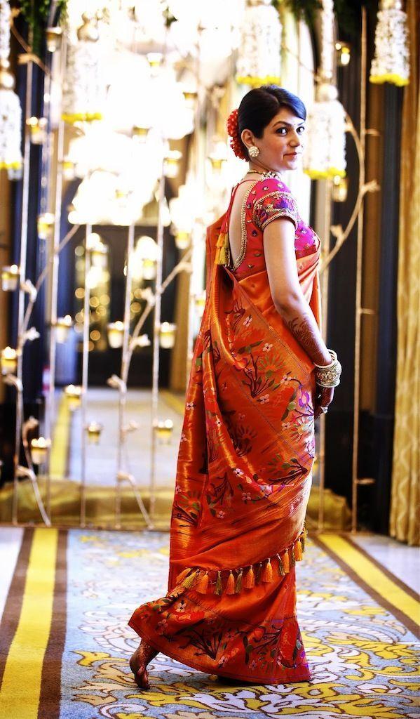 paithani bridal saree in orange indian amp fashion