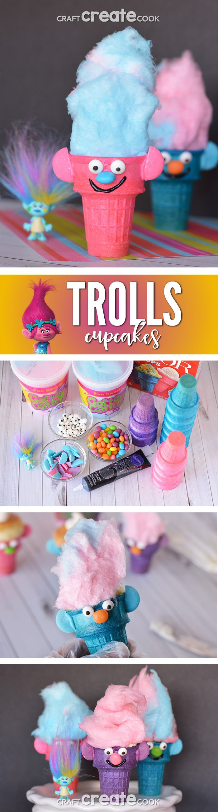 According to Poppy, Cupcakes and Rainbows are the perfect combination! These troll cupcakes are just that! via @Craft Create Cook