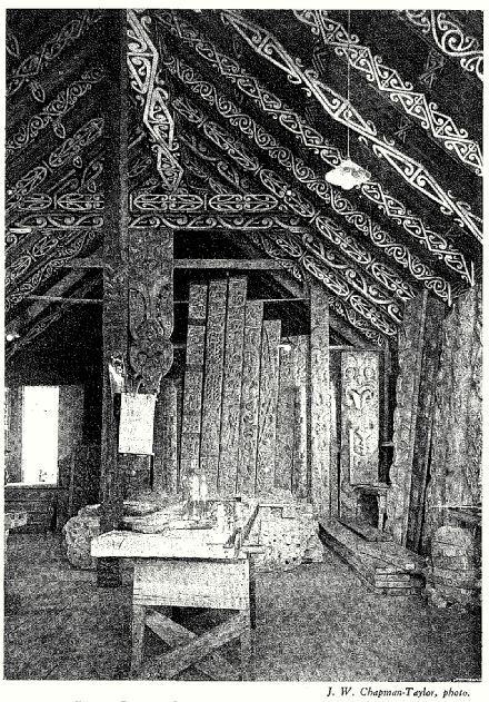 Interior of Te Aomarama Carving School at Rotorua, photo by J. W. Chapman-Taylor. From Carved Houses of Te Arawa, courtesy of the Knowledge Basket.