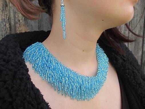 MariN.Art / strapcovitý náhrdelník aquamarin