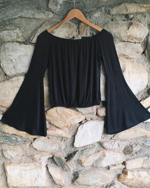 Off The Shoulder Bell Sleeve Crop Top - Livin' Freely Give off that 70s vibe with this trendy Off The Shoulder Bell Sleeve Crop Top! This top features bell sleeves and an elastic bottom to give it that blousy effortless look. Its made of a super comfortable light weight stretch fabric. We love pairing it with high waisted bell