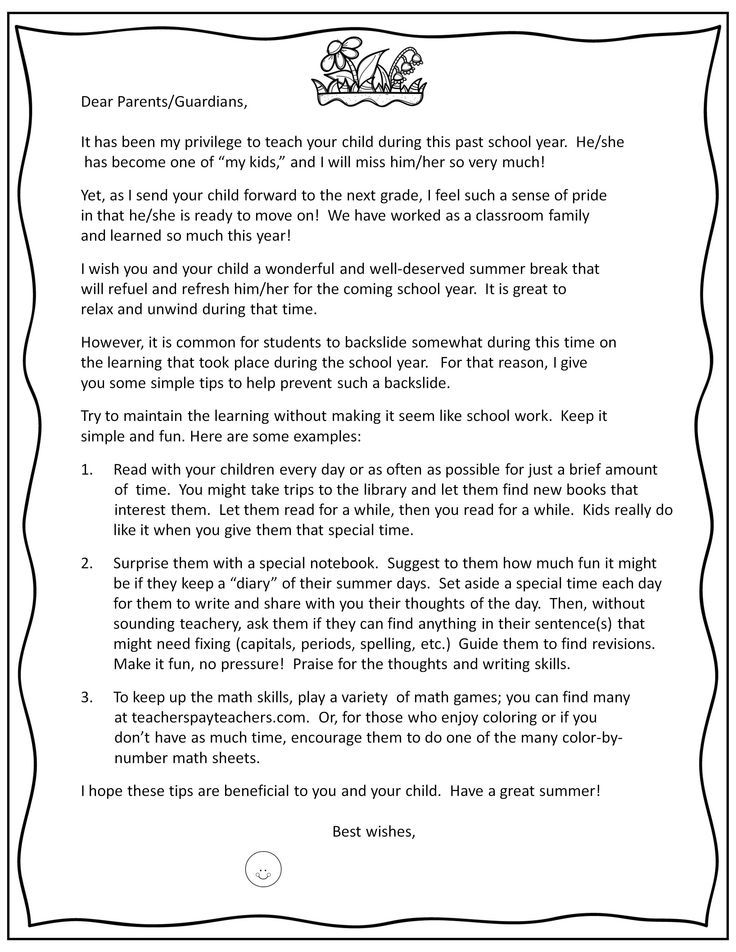 End of Year Parent Letter & Prevent the Summer Slide with