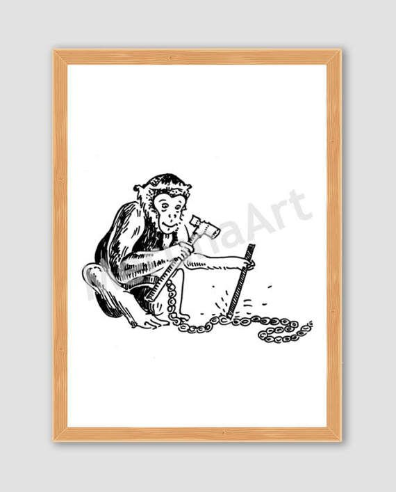 Cute Monkey Breaking Free Drawing Download Printable by MerunaArt #monkey #drawing #last #minute #gift #idea #for #kids