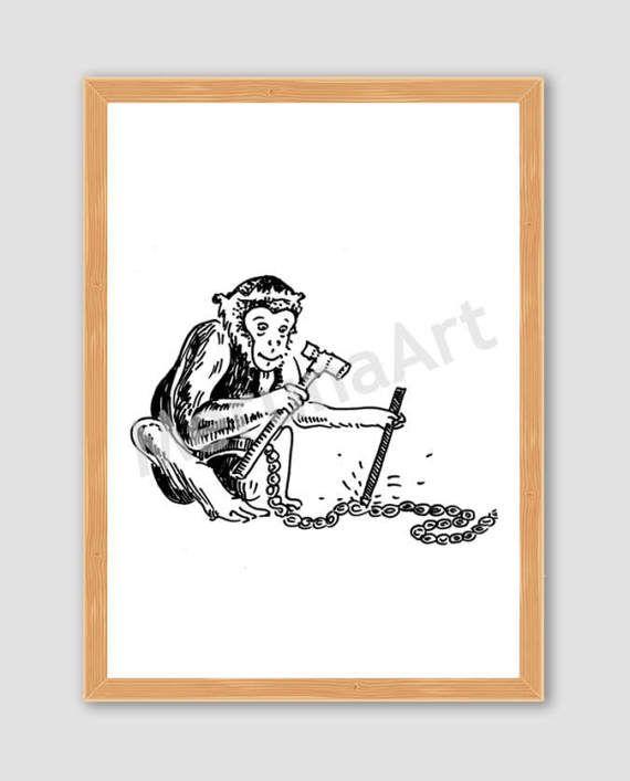 Cute Monkey Breaking Free Drawing Download Printable by MerunaArt #monkey #drawing #last #minute #gift #idea #for #kids
