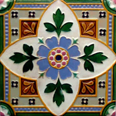 Antique Victorian Majolica Ceramic Tile