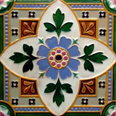 Antique Victorian Majolica Ceramic Tile