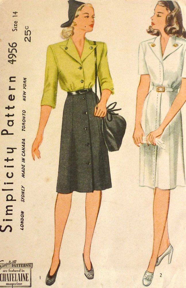 Cartamodello vintage anni ' 40 / / 40s Shirtwaist vestito / / 40s abito giorno…