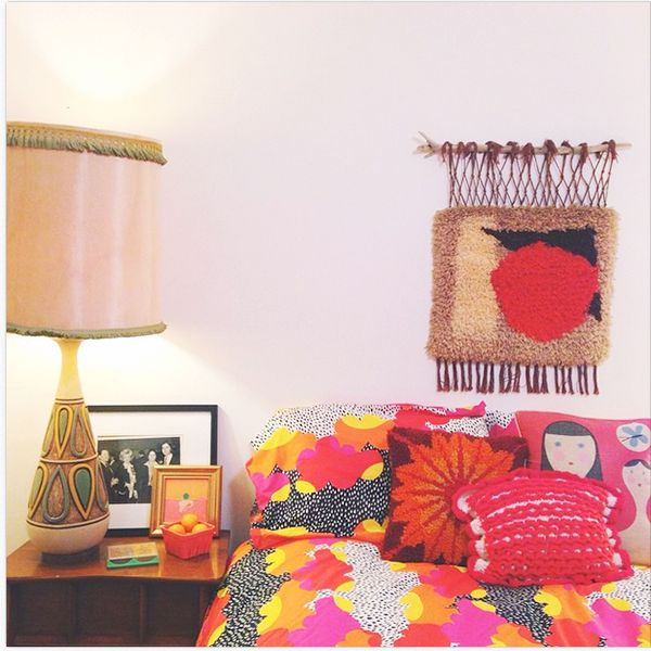 15 Cozy S.F. Bedrooms That Will Inspire A Revamp #refinery29  http://www.refinery29.com/pretty-bedroom-decor-inspiration#slide-4  Elizabeth Spiridakis OlsonIt's no secret we're obsessed with AFAR creative director Elizabeth Spiridakis Olson's color-soaked home, but this psychedelic snap of her guest room has us seeing hearts. That bedding is beyond.