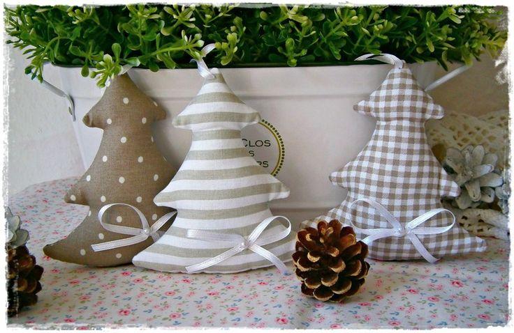 3 Tannenbäume♥Baumschmuck♥Taupe♥Weihnachten von Little Charmingbelle auf DaWanda.com