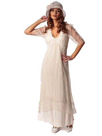 Nataya Vintage Inspired Ivory Embroidered Tulle Empire Dress
