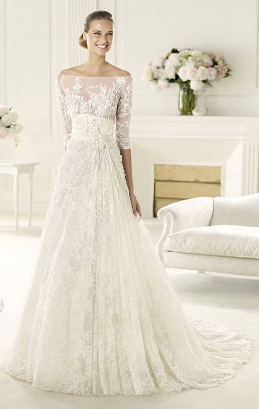 Exquisite A-line Off-the-shoulder Half Sleeve Beading Lace Hand Made Flowers Sweep/Brush Train Tulle #Wedding #Dress