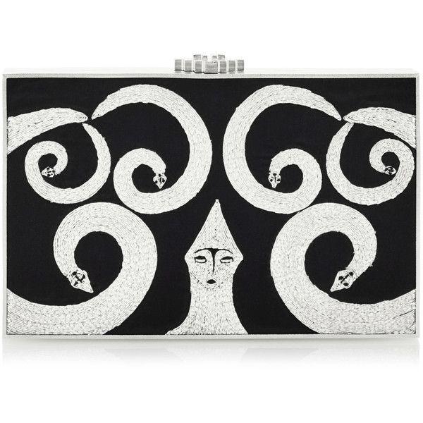 Rita von Hildebrand Silver Sangori Snake Clutch ($2,850) ❤ liked on Polyvore featuring bags, handbags, clutches, black, snake purse, silver handbags, silver clutches, silver purse and snake handbag