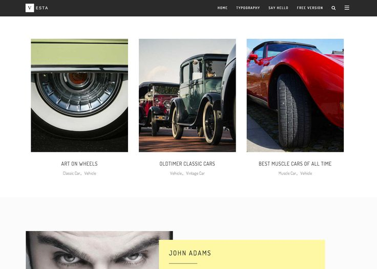 The Vesta free WordPress blogging theme. More info: http://curatable.net/20-free-wordpress-themes-i-would-actually-use-to-start-a-new-blog-in-2016/