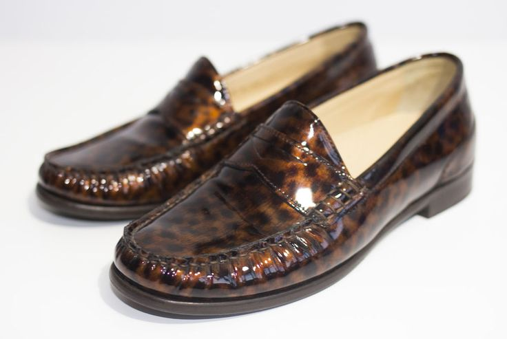 Cole Haan Loafers Size 3 Air Penny Moccasin Driver Tortoise Patent Ladies Shoes