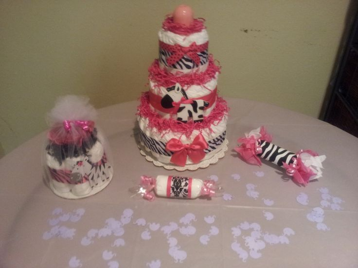 baby shower ideas for girls | ... Hot pink ZEBRA diaper cake and decorations for baby shower RESERVED