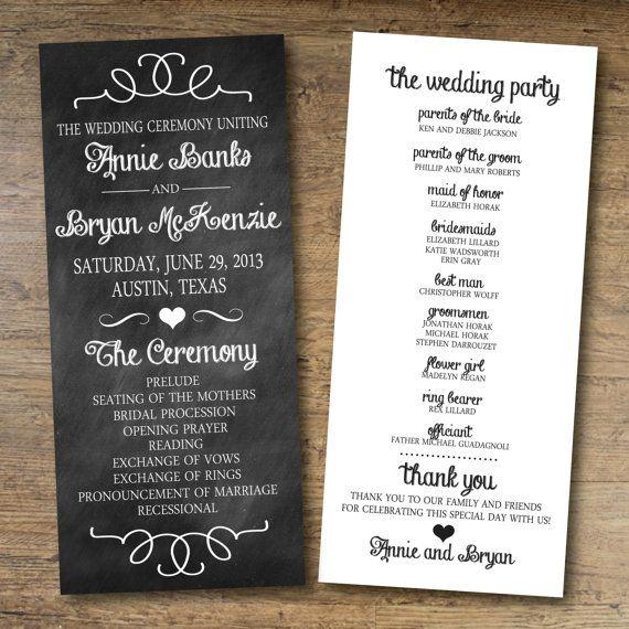 17 Best ideas about Wedding Program Chalkboard on Pinterest ...