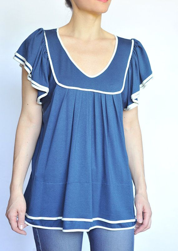 Sailor Blouse- 2013 trends Nautical, Regular and Plus Size, Immediate Delivery on Etsy, $89.00
