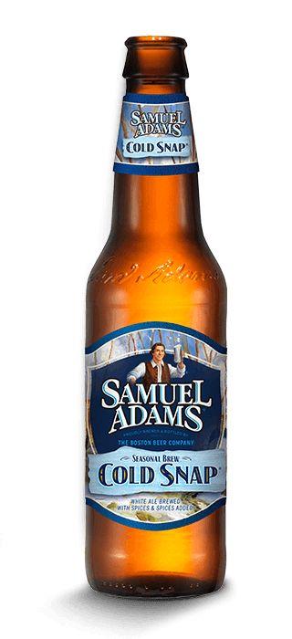 Cerveja Samuel Adams Cold Snap, estilo Witbier, produzida por Boston Beer Company, Estados Unidos. 5.3% ABV de álcool.