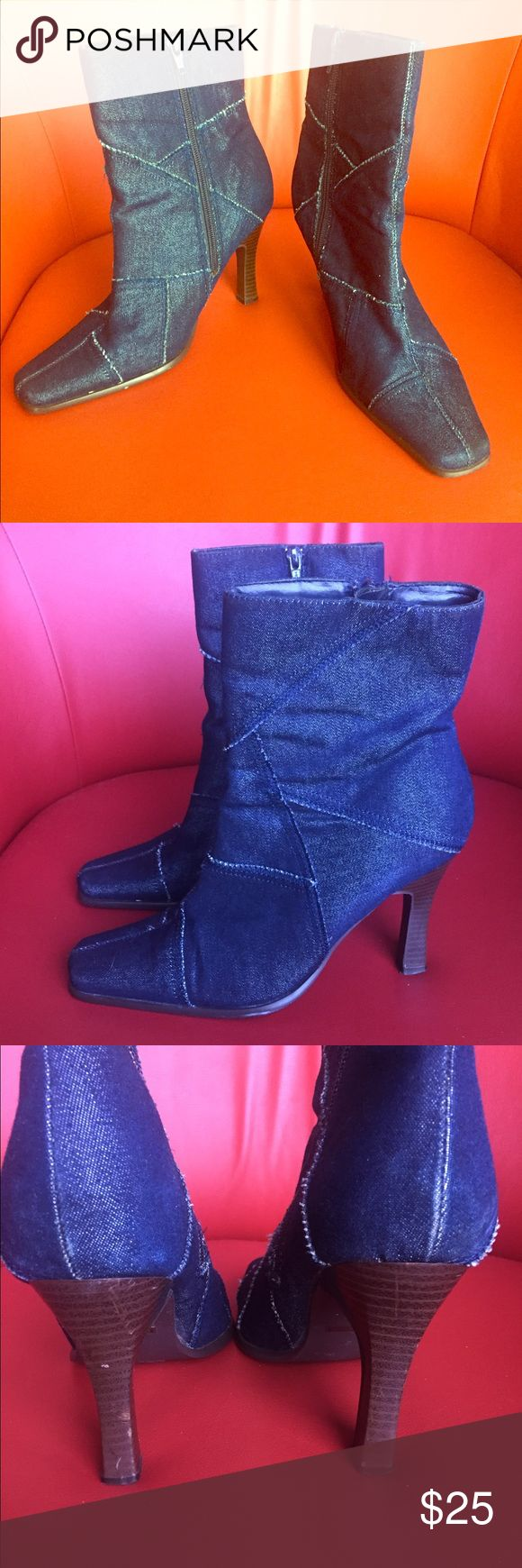 """Adorable Denim Zip Up Boots in a Size 8.5, Comfy This is an adorable pair of Bamboo, denim boots in a size 8 1/2. These boots are in excellent condition with just a couple of scratches on the left heel, as shown in the photo. These boots have a 3"""" heel, which make them super comfortable. Bamboo Shoes Heeled Boots"""