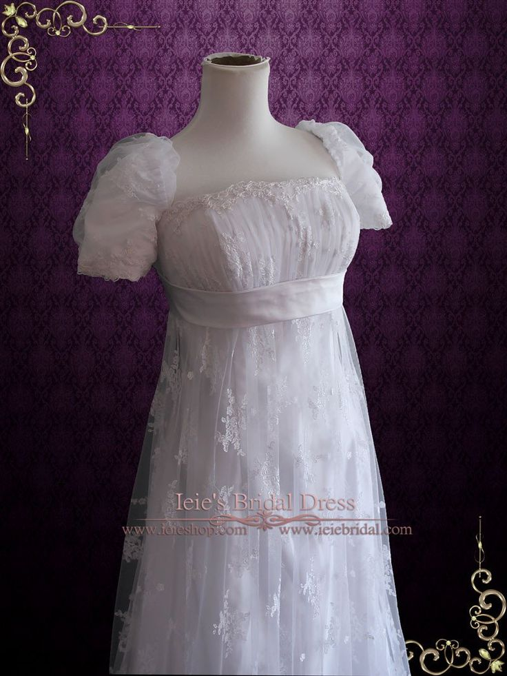 1920s Regency Style Empire Waist Lace Wedding Dress | Emma