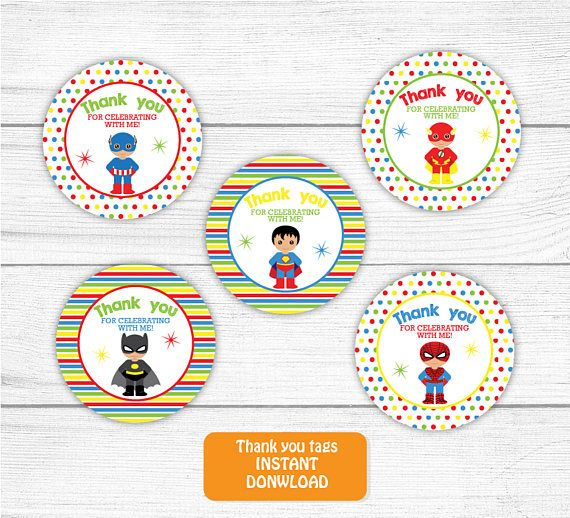 Printable Superhero Thank you Tag Boy Superhero Thank you