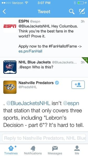 NHL twitters throwing ESPN some deserved shade :) Hockey twitter account are the best!