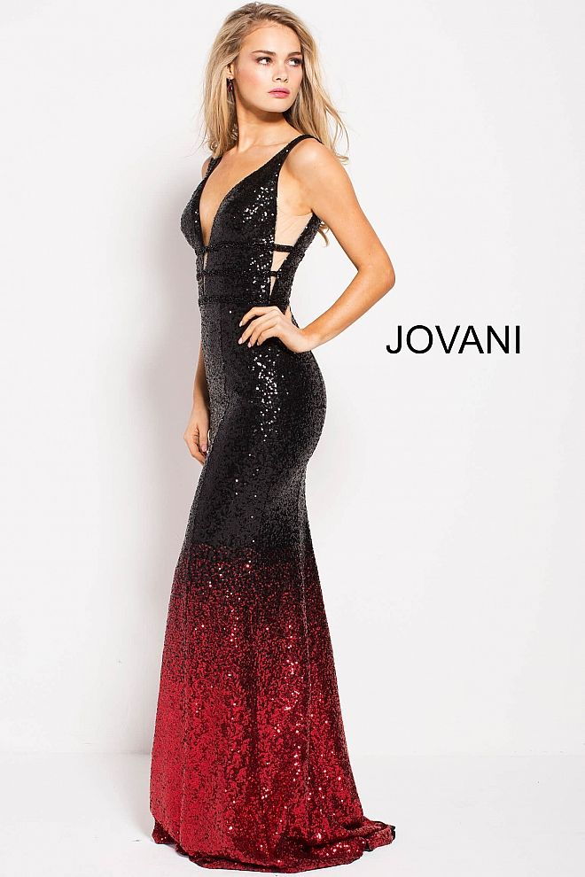 6b2be6c45d Floor length form fitting black and red sequin prom dress with three  embellished straps around waist features plunging neckline and open back.