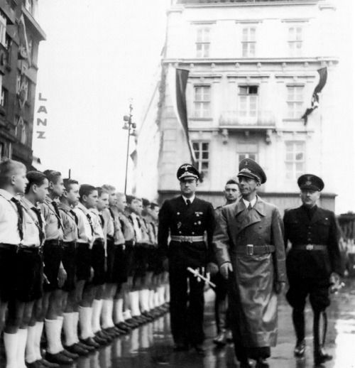 Joseph Goebbels on an official visit to Bratislava, Escorted by German ambassador to Slovakia Hanns Elard Ludin and Minister Gejza Medrický.