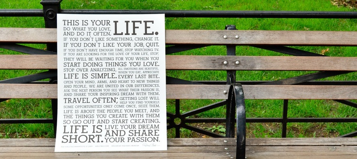 """The Holstee Manifesto Poster - """"This is your life""""   HOLSTEE"""