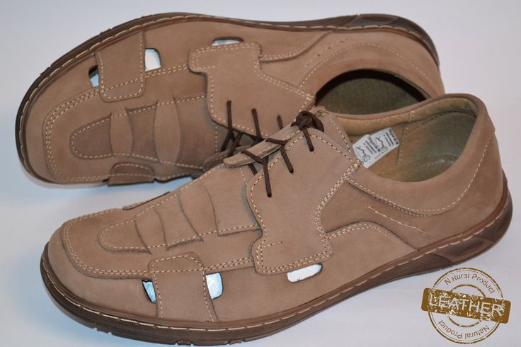 Men's Genuine Leather Tan Sandal Shoes Laced up