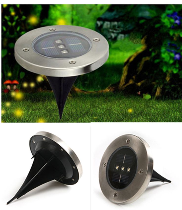 solar power 3 led buried light lamp outdoor pathway garden underground deck