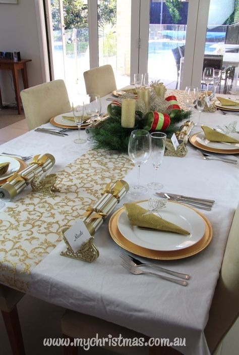 Gold And White Christmas Table Decorations Accent On