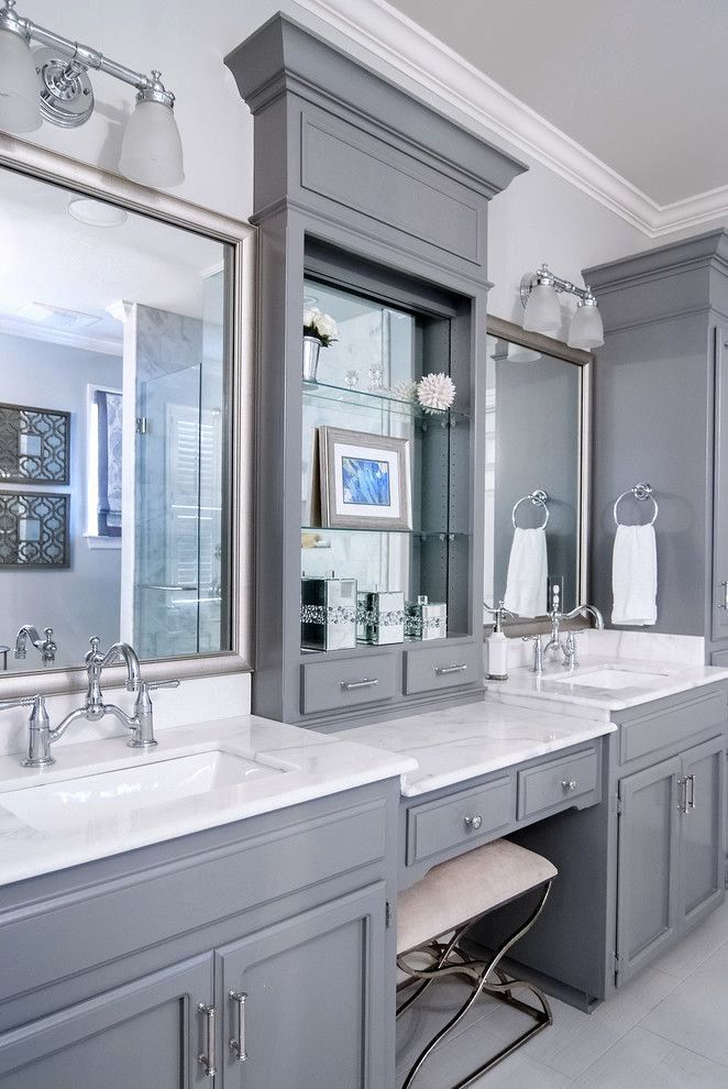 Small Bathroom With Built In Makeup Vanity Home Design Ideas Pictures Remodel And Decor Traditional Bathroom Designs Dream Bathrooms Traditional Bathroom
