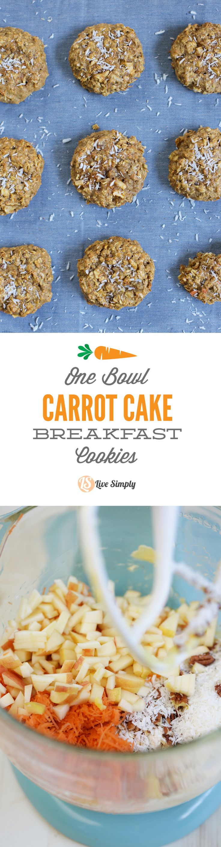 These are so good!! One bowl carrot cake breakfast cookies are made with healthy ingredients and can be stored in the freezer for a super easy breakfast. I love to serve these to my family with smoothies on super busy mornings.