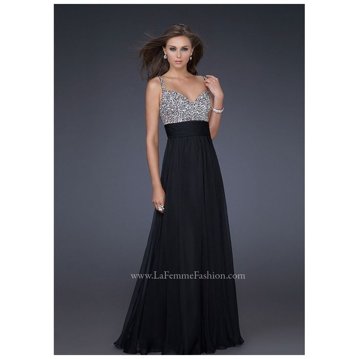 La Femme 16802 UK | La Femme Black Crystal Busted Dress with Straps
