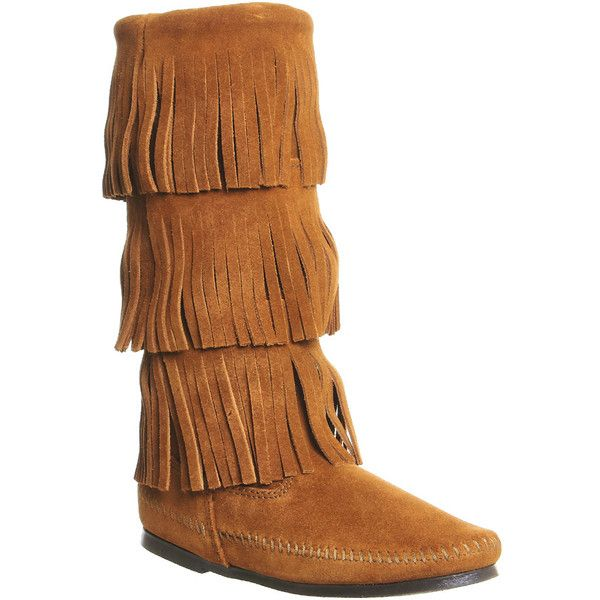 Minnetonka Calf Hi 3 Layer Fringe Boot ($115) ❤ liked on Polyvore featuring shoes, boots, ankle boots, brown suede, women, brown mid calf boots, minnetonka moccasins, knee high moccasin boots and short brown boots