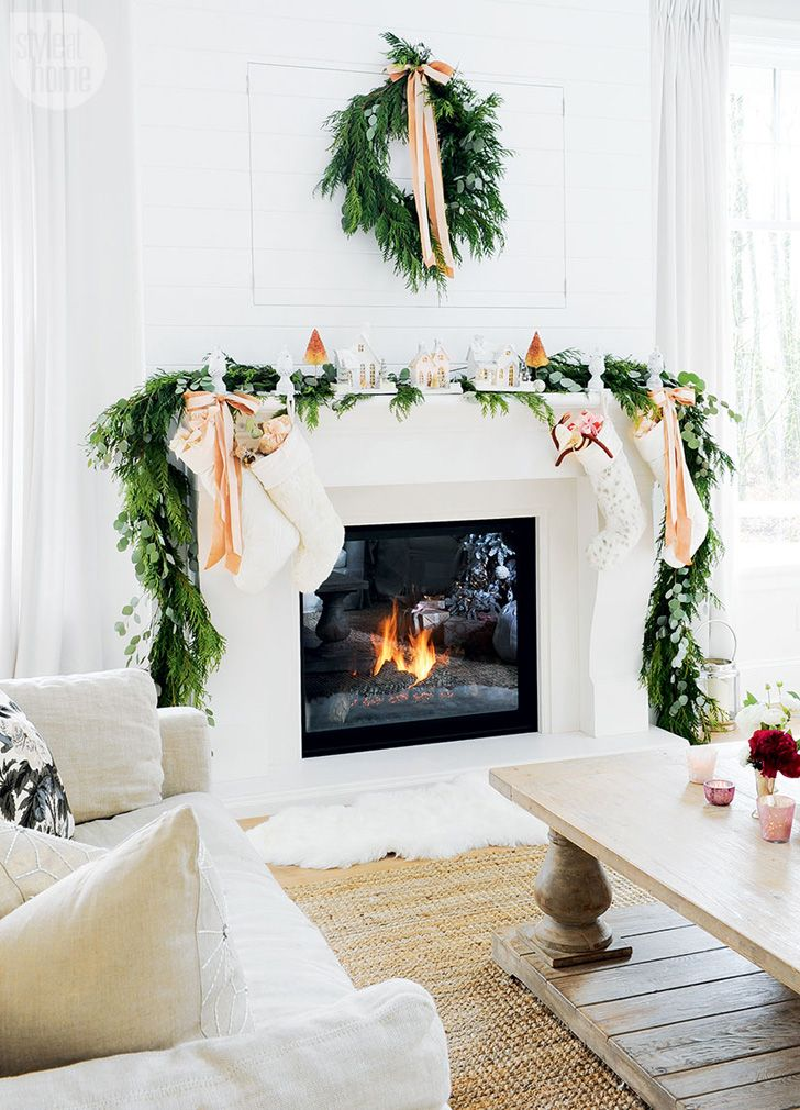Stunning Fireplace Decked Out For Christmas