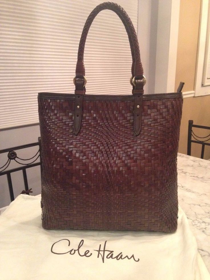 Cole Haan Genevieve MINT! Woven Leather Weave Tote Hobo Shoulder Hand Bag Purse #ColeHaan #TotesShoppers ABSOLUTELY GORGEOUS!!! VERY RARE!!! BEAUTIFUL WOVEN LEATHER WEAVE LARGE SLIM TOTE IN A STUNNING, RICH CHOCOLATE BROWN COLOR!!! ONLY ONE!!! SALE!!! WOW!!!