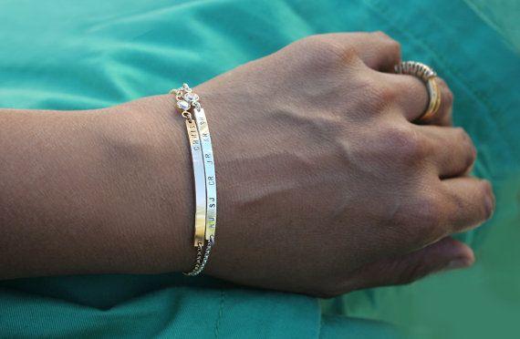 Sterling silver diamond nameplate bracelet - Cubic zirconia cz bracelet with tiny font - Skinny slim personalized bar bracelet