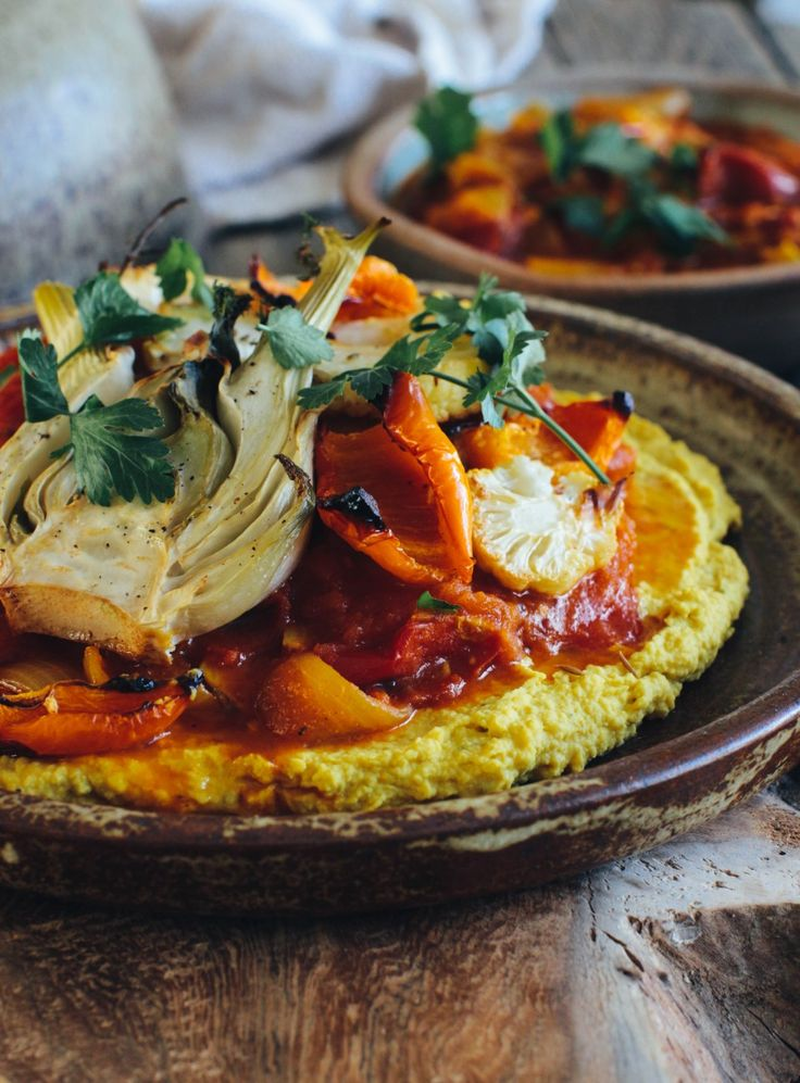 Tomato Curry, Roast Veg and Turmeric Hummus