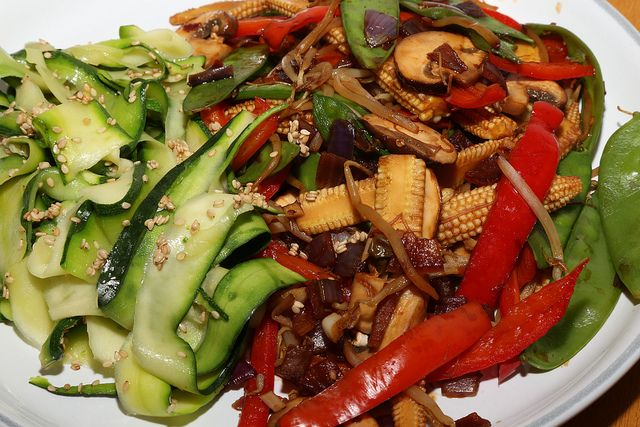 Low-Calorie Vegetable Stir Fry with Courgette Ribbons by Rachel Cotterill - perfect for a 5:2 fast day! #cbias