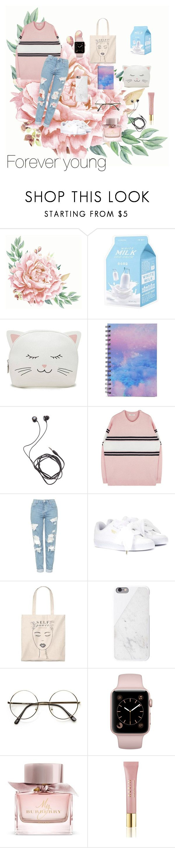 """""""Untitled #65"""" by dilya-300542 ❤ liked on Polyvore featuring Missha, Forever 21, Diane Von Furstenberg, Topshop, Puma, Burberry and AERIN"""