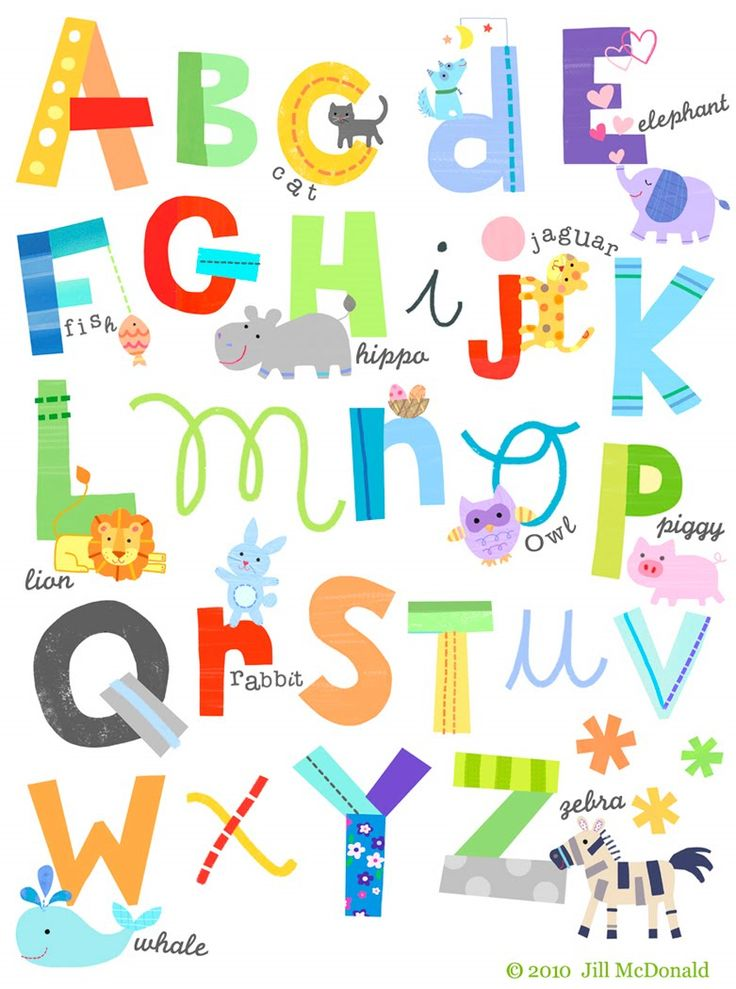 colorful mix of lower case, upper case, script and manuscript letters with fun little pics, too.