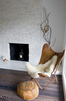leather for the butterfly chair: Living Rooms, Leather Butterflies, Poufs, Floors, Fireplaces, Interiors Design, Butterflies Chairs, Leather Chairs, White Brick