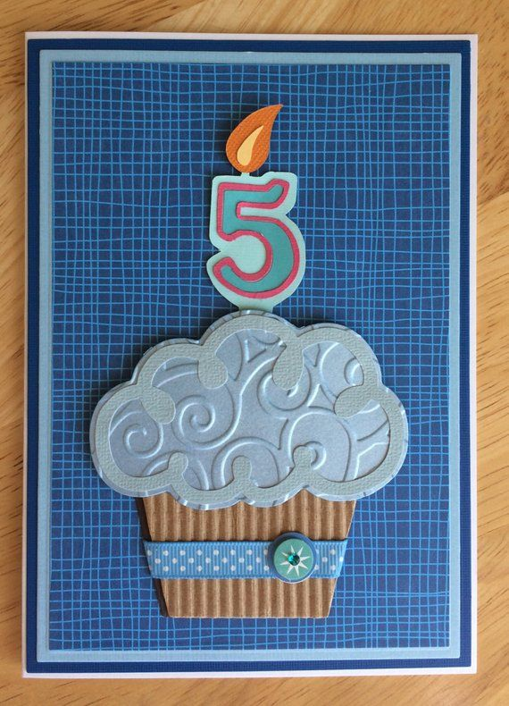 3D Cupcake Handmade Birthday Card 1 2 5 Year Old Boy Or Girl