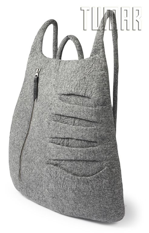 Backpack. Felt - 100% wool. Handmade, solid-rolled. Technique - resist felting. Color: grey mélange. Catalogue: Going Wild, 2016. Tumar Art Group.