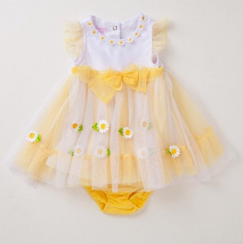 Infant Floral Hem Border Dress and Panty.
